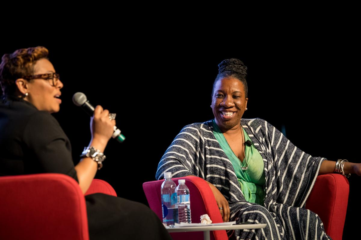Keynote speaker Tarana Burke on stage during her interview