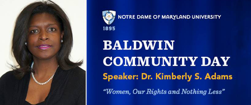 Baldwin Community Day speaker header featuring Dr. Kimberly S. Adams
