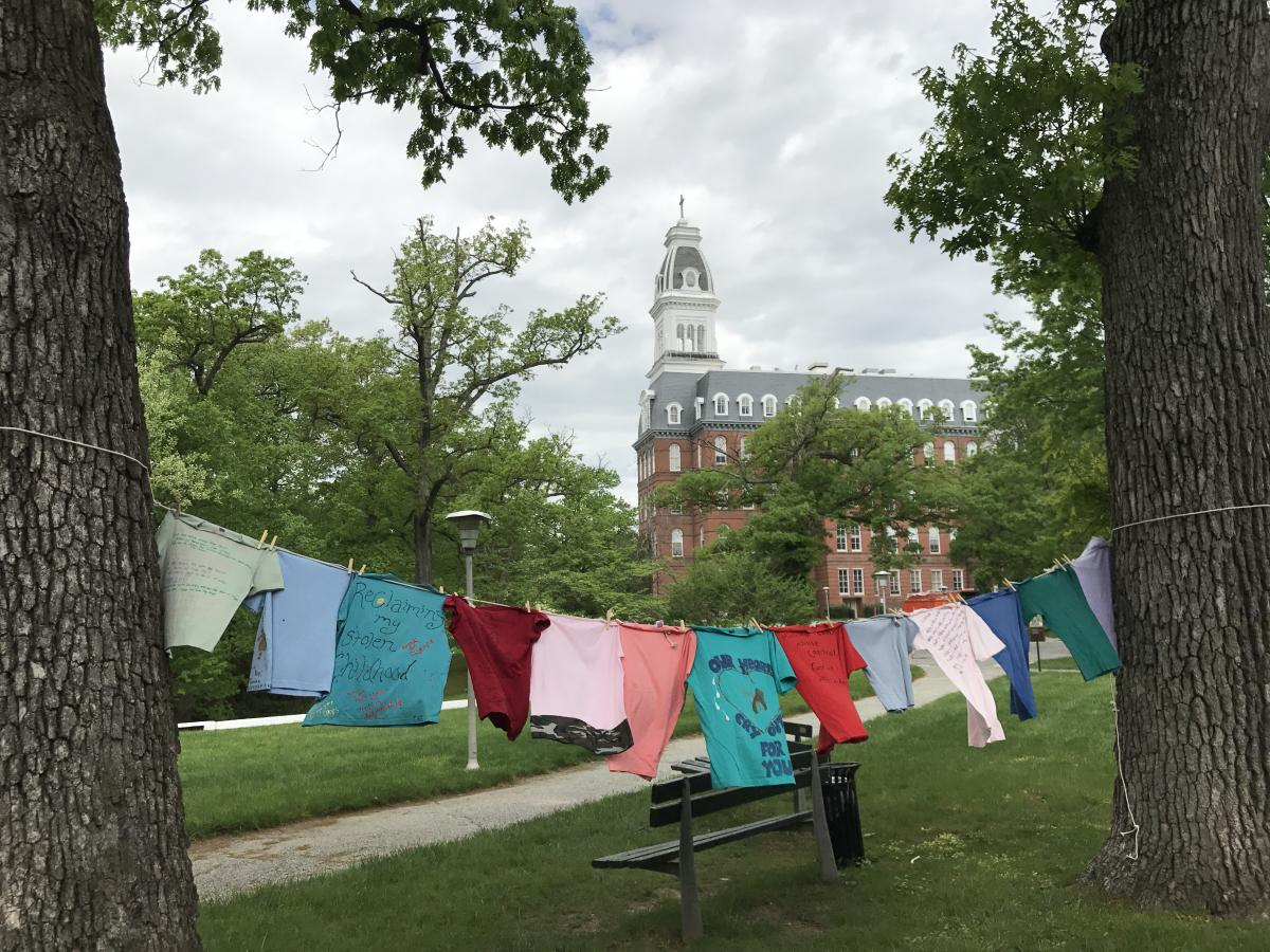 clothesline project shirts on clothesline