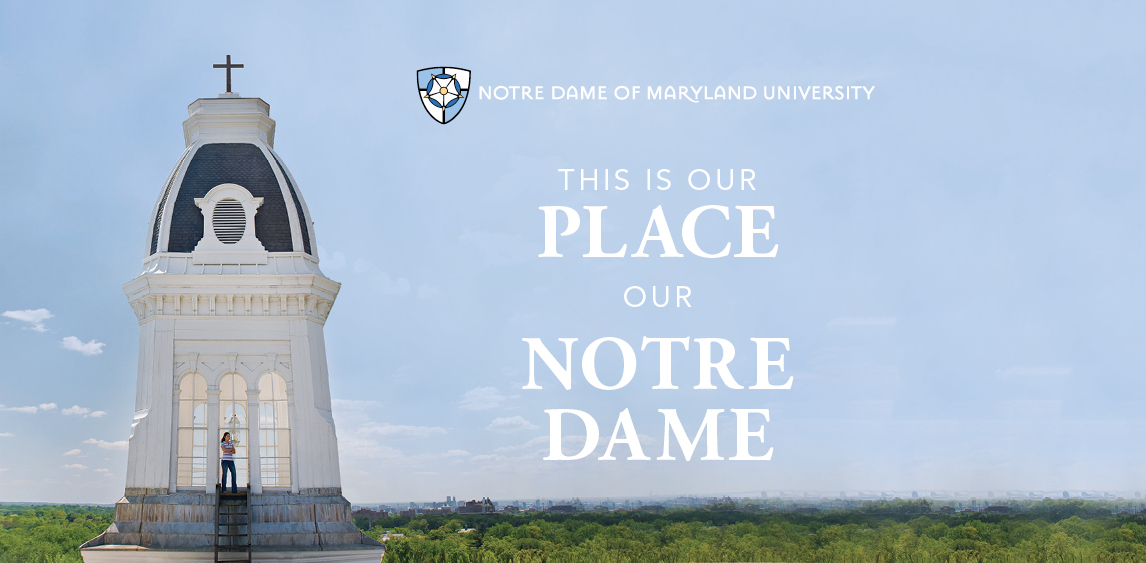 "Photo of Gibbons steeple with the words ""This is out place. Out Notre Dame."""