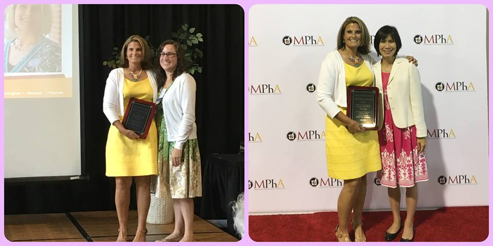 Two photos of Dr. Culhane receiving her award