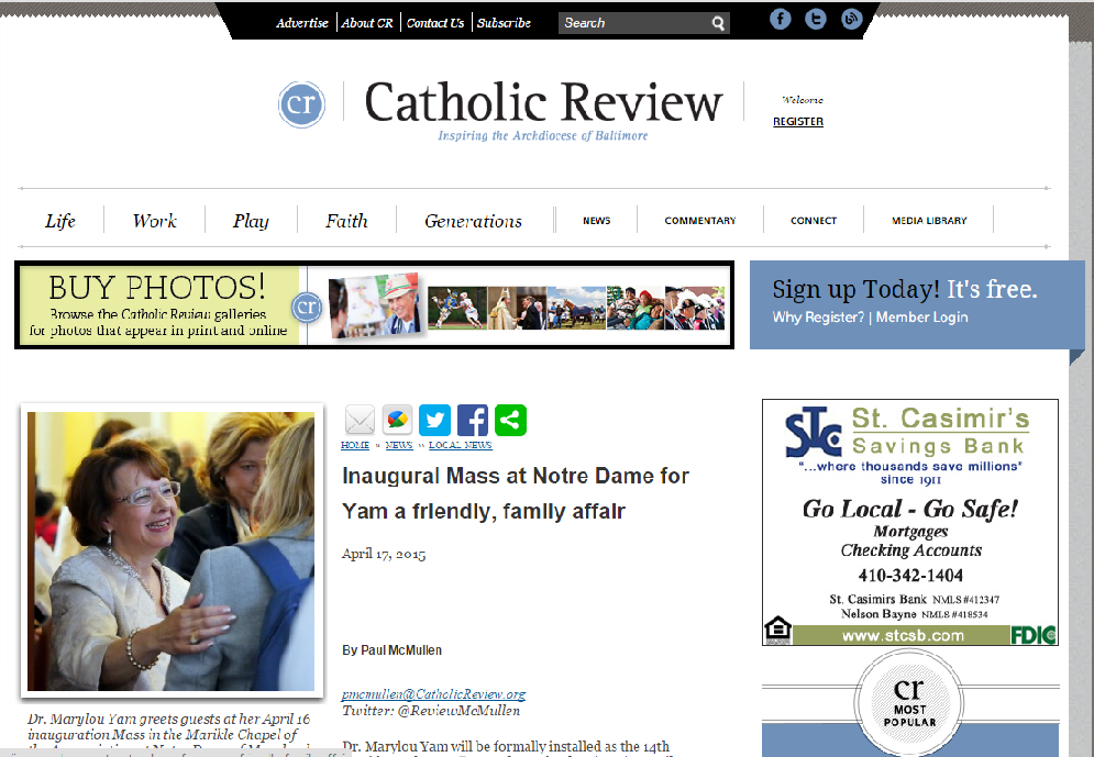 Screen shot of Catholic Review news website with photo of Dr. Yam