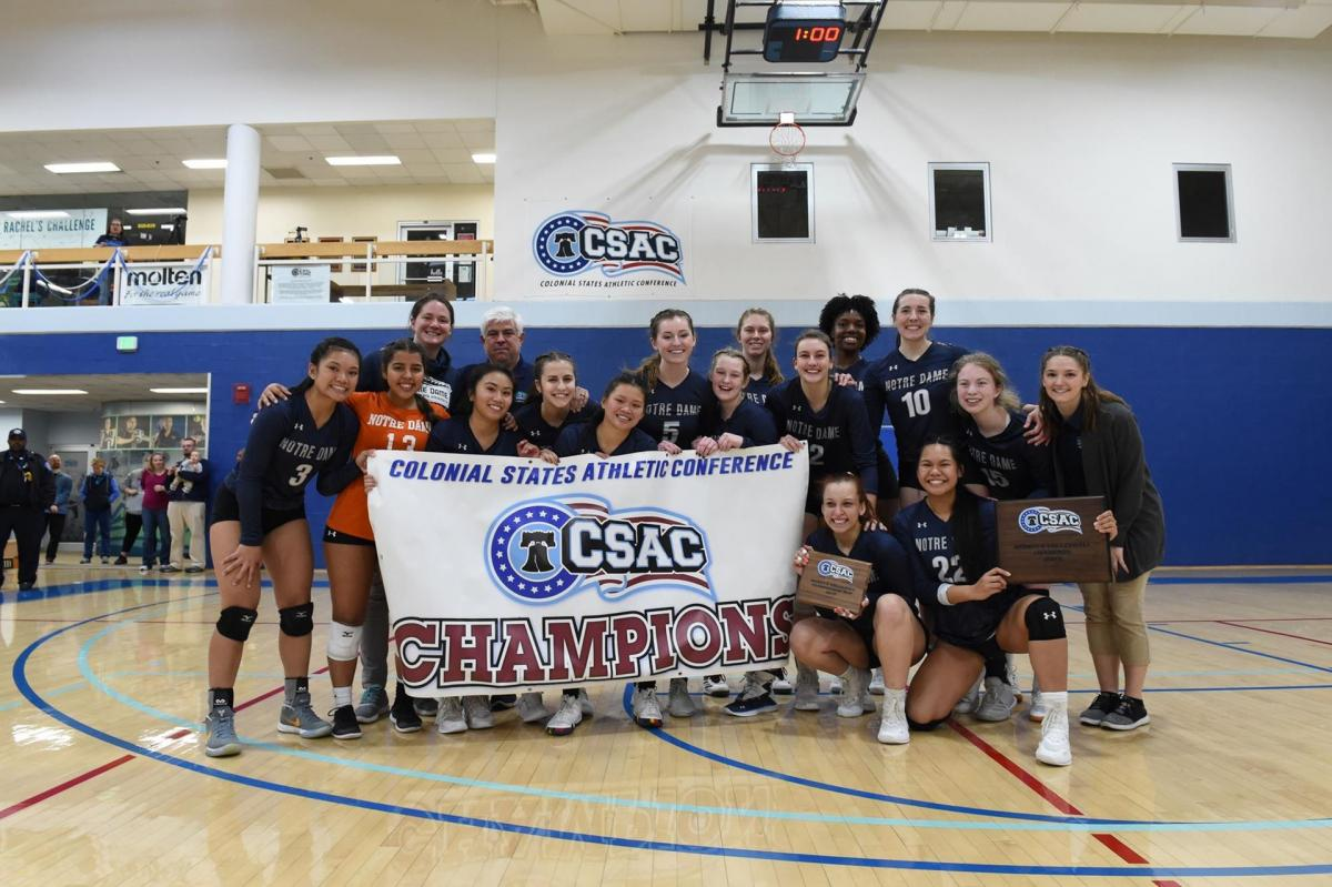 Group photo of volleyball team holding championship banner