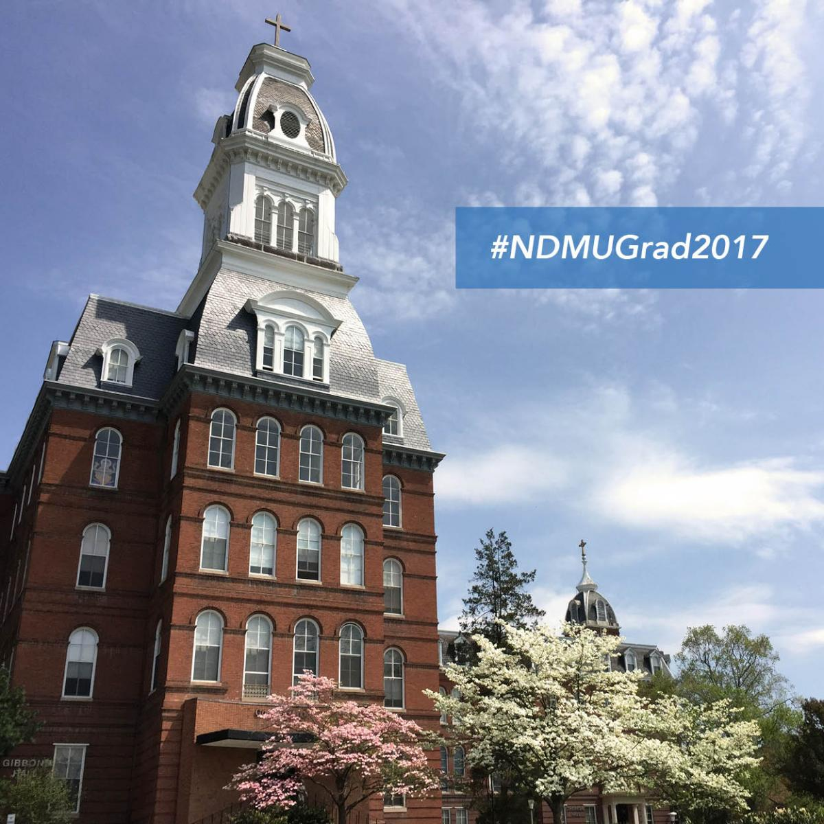 "Gibbons tower ""#NDMUGrad2017"""