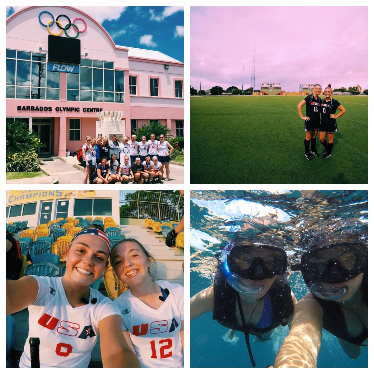Grid of 4 instagram photos of NDMU students in Barbados