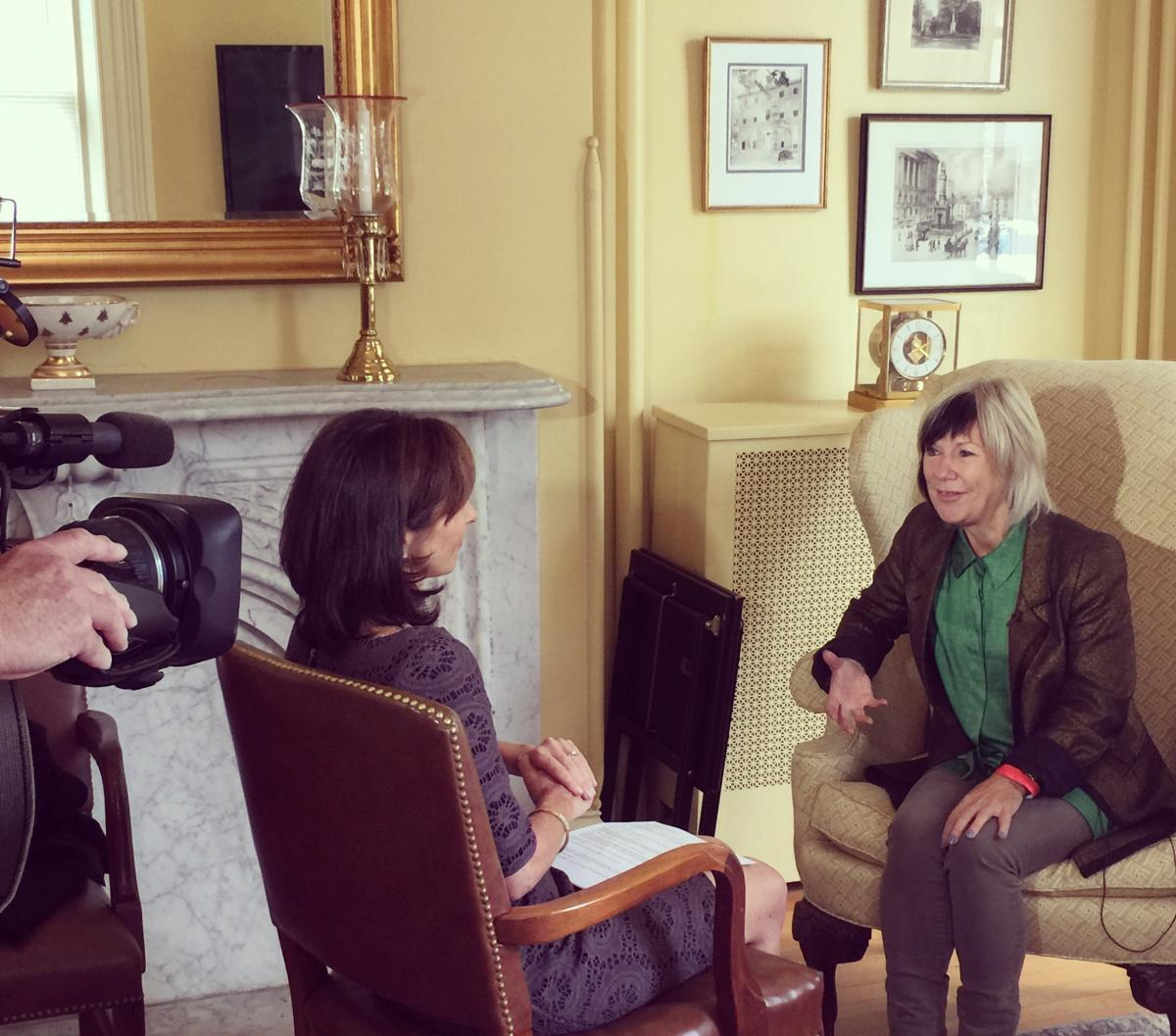 Jude Kelly being interviewed in Noyes Alumnae House