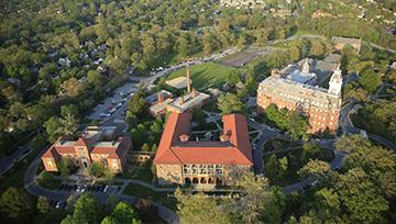 aerial view of NDMU campus