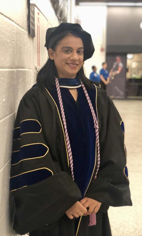 Sabita Persaud in cap and gown