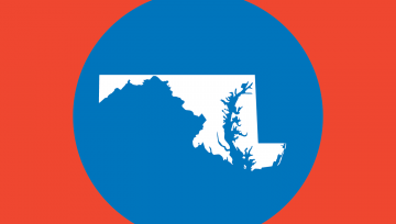 Red box with blue state of Maryland icon