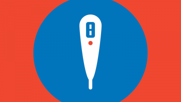 Red box with blue thermometer icon