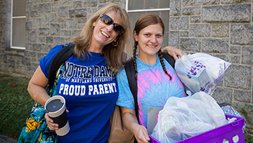 Mom and daughter on move-in day