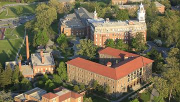 Aerial view of NDMU's campus