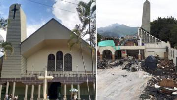 Before and after earthquake destruction