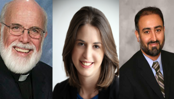 head shots of Joseph L. Muth, Jr., Rabbi Sarah Marion and Dr. Faheem Younus