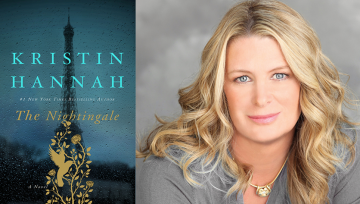 Kristin Hannah's photo and the cover of her book, The Nightingale
