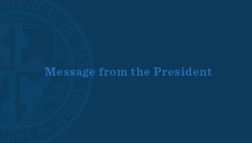 Message from the President with the University seal