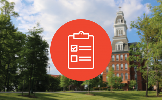 Campus background with checklist infographic
