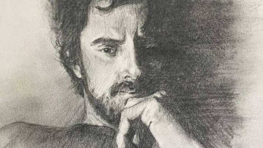 Drawing of a man suffering from addiction