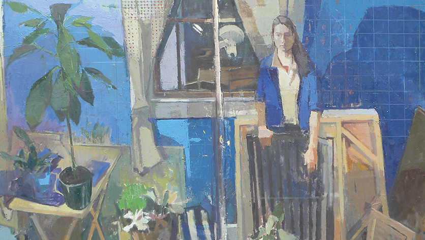 "Edmond Praybe Through the Night, Oil on panel, 36""x 36"", 2017."