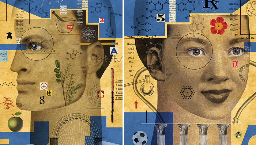 man and woman illustration with symbols relating to academic and student life