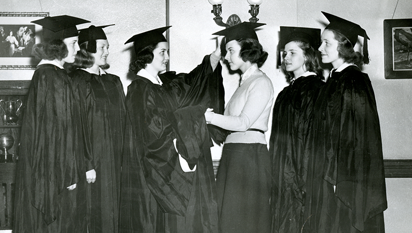 Old black and white photos of NDMU students wearing caps and gowns