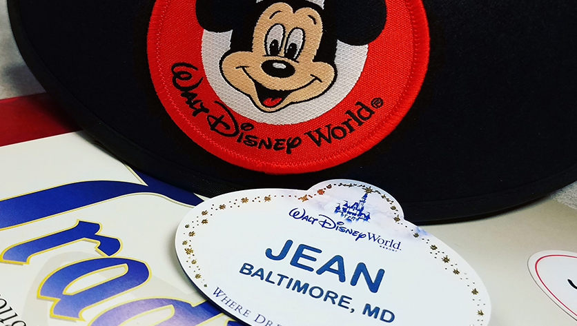 Jean's disney name tag and Mickey ears