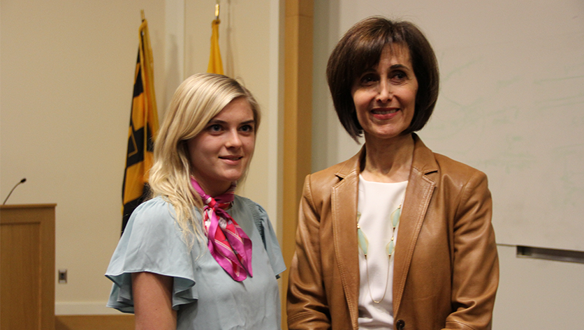 Emily Przyborowski poses with  Ambassador Extraordinary and Plenipotentiary of the Hashemite Kingdom of Jordan to the United States of America, Dina Kawar