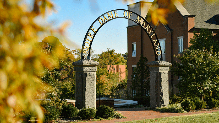Fall leaves are the NDMU Arch