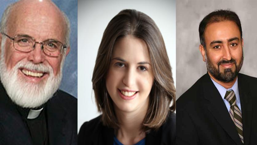 head shots of Joseph L. Muth, Jr., Rabbi Sarah Marion and Dr. Faheem Younus