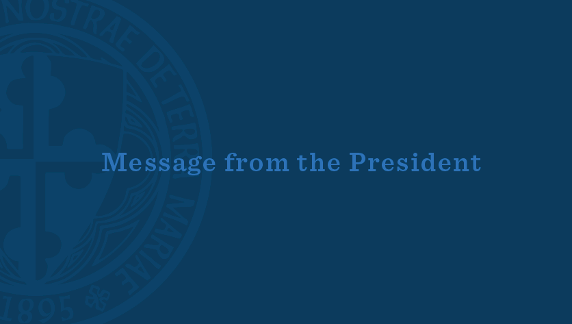 Message from the President with presidential seal