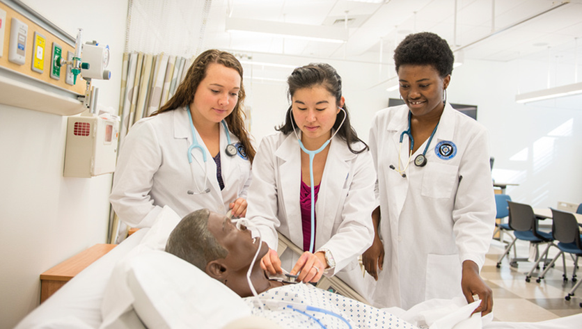 Nursing students with sim man