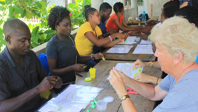 Sr. Sharon working with teachers in Haiti