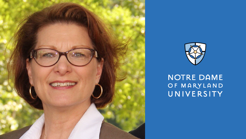 Suzan Harkness headshot with NDMU logo