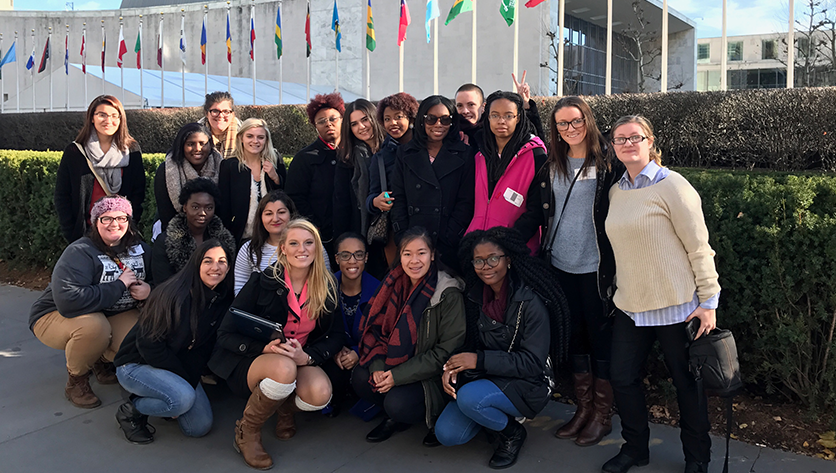Group photo of NDMU students in front of the UN building