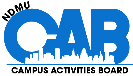 NDMU CAB Logo [Image: NDMU in black letters on top, Blue CAB with a city skyline on bottom along with Campus Activities Board in black below the skyline]