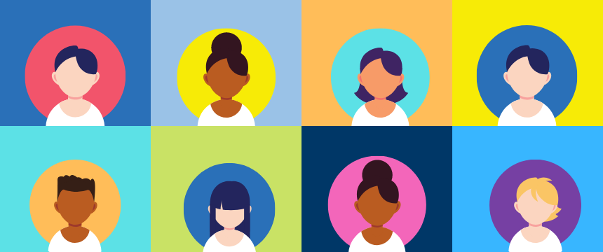 multicolor grid of illustrated people