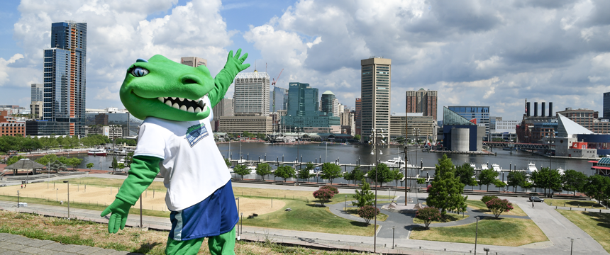 Gabby the Gator in front of the Baltimore skyline