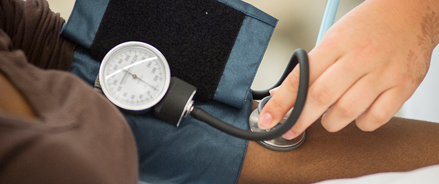 close up of taking blood pressure