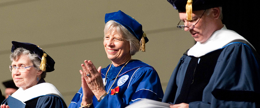 President Seurkamp smiling at 2012 commencement