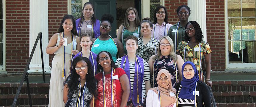 Group photo of 2016 graduates on Noyes House steps