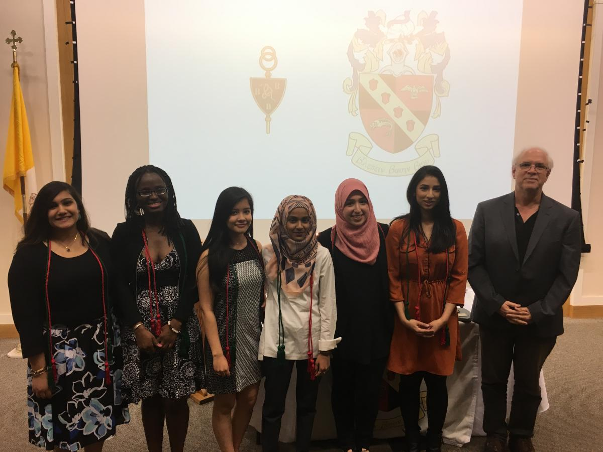 Tribeta Honor Society Grads w/ Prof. Weldon